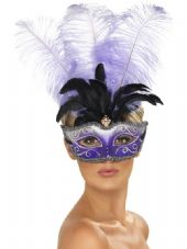 Venetian Multi Plume Purple Feather Eye Mask
